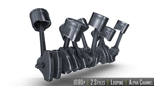 Thumbnail for Isolated V8 Engine of Pistons & Crankshaft