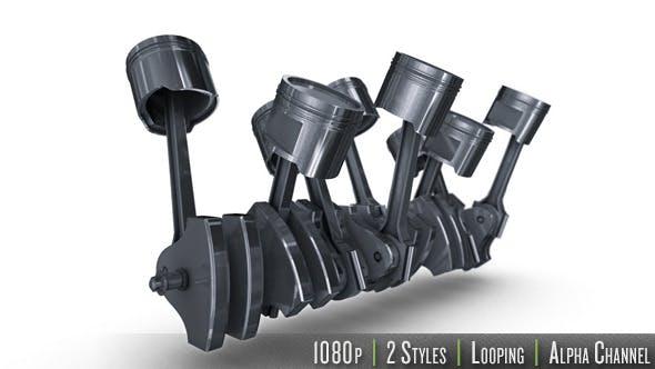 Isolated V8 Engine of Pistons & Crankshaft