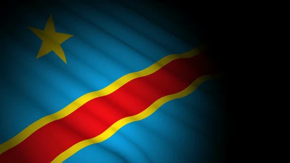Congo Democratic Flag Blowing in Wind