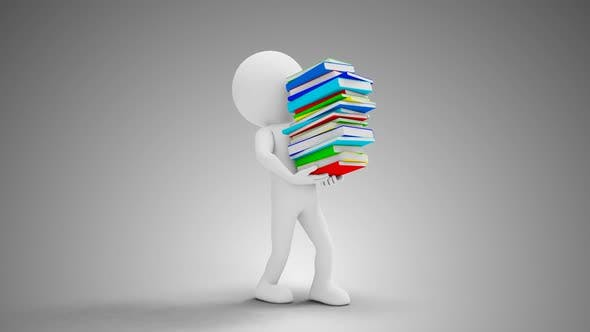 Thumbnail for 3D Man Carrying Books Loop