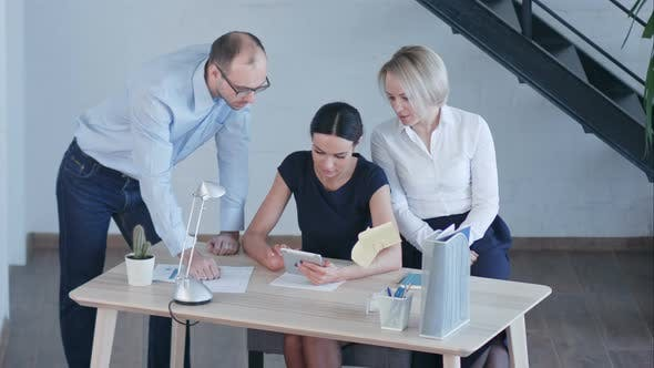 Thumbnail for Workplace in Modern Office with Business People Using Digital Tablet