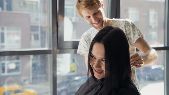 Thumbnail for Hairdresser Creating a Hairstyle for Beautiful Woman Closeup
