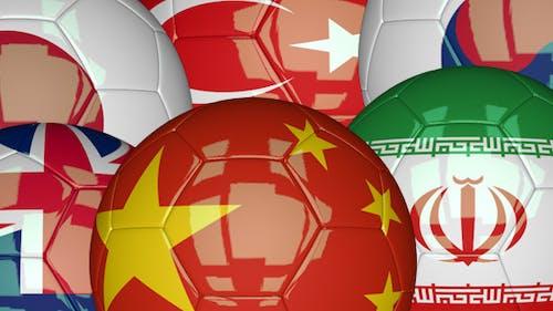 3D Soccer Ball - Azia Flags