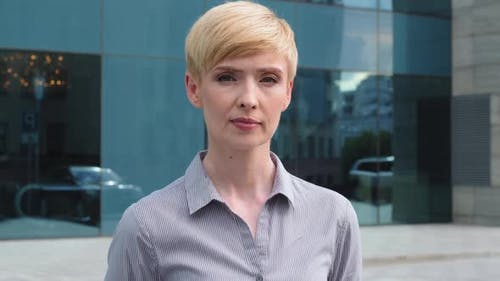 Closeup Female Serious Face Portrait Caucasian Middle Aged Business Woman Boss Blonde Short Haired