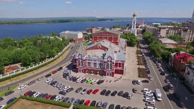Aerial View Historical District of Russian City Samara at Summer Day Old Buildings in Russian Style