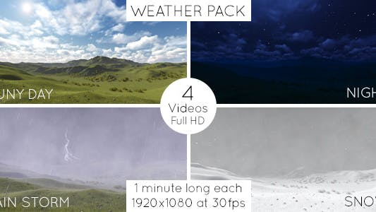 Cover Image for Sunny Day, Night Time, Rain, Snow - Weather Pack