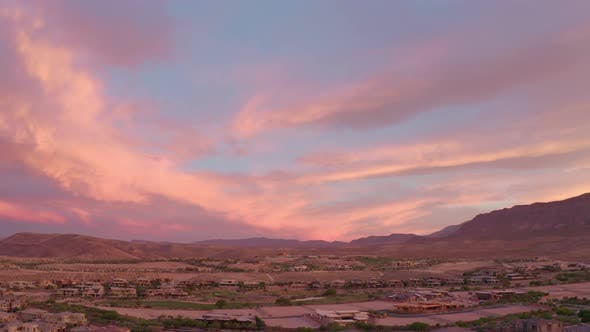 Thumbnail for Aerial View of Las Vegas Houses Located in a Desert of Nevada, USA. Sunset View