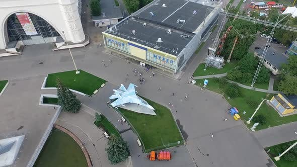 Flying Over Vdnh Exhibition Centre in Moscow, Russia