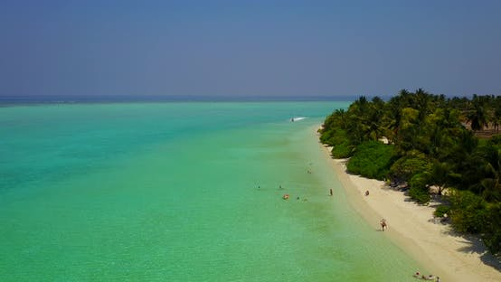 Cover Image for Wide drone copy space shot of a summer white paradise sand beach and blue water background in colour