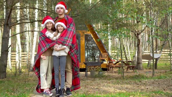 Thumbnail for Young Dad with Kids Walking at Christmas Day