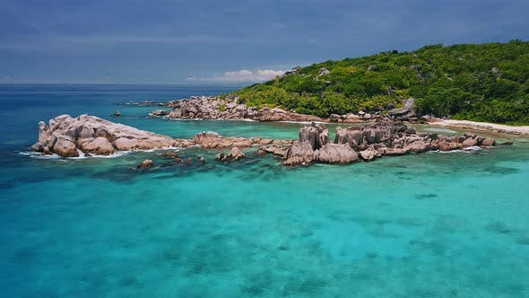 Cover Image for Aerial View of Unique Coastline with Nature Granite Boulders on Remote Paradise Like Beach Hidden in