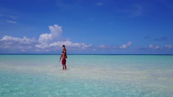 Romantic people after marriage in love live the dream on beach on paradise white sand 4K background