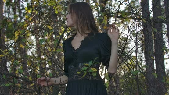 Thumbnail for Slim Brunette Caucasian Girl with Brown Eyes Standing in the Forest in the Evening and Looking Up