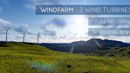 Thumbnail for Windfarm - 3 Wind Turbines on a Green Landscape