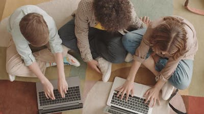 Top View of Children with Computers