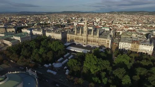 Aerial of the City Hall and other buildings