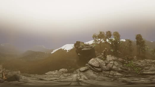 Cover Image for Vr 360 Aerial Camera Moving Above Rocks in Mountains