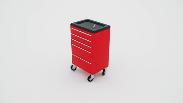Red toolbox animation 3D. Animation toolbox on white background