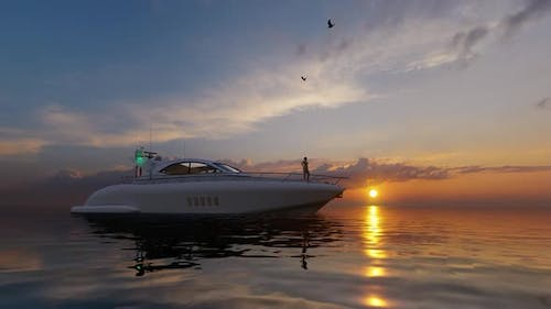 Luxury Yacht and Sunset View