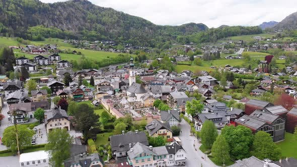 Thumbnail for Scenic Aerial View of Mountain Village and Lake, Wolfgangsee, Salzburg, Austria, Alps