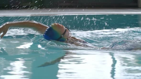 Thumbnail for Woman Practicing Front Crawl in Pool