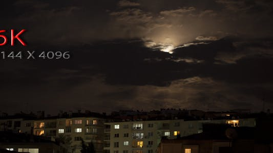 Thumbnail for Full Moon And Clouds Over The City