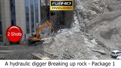 A Hydraulic Digger Breaking Up Rock - Package 1