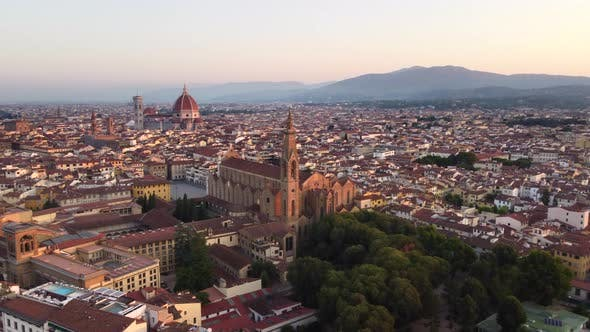 Florence City Aerial View in Tuscany at Sunrise