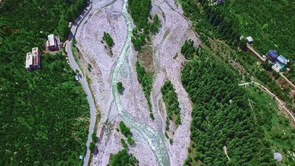 Tilt Up Aerial View of a Famous Himalayan Town in India , Manali , Himachal Pradesh