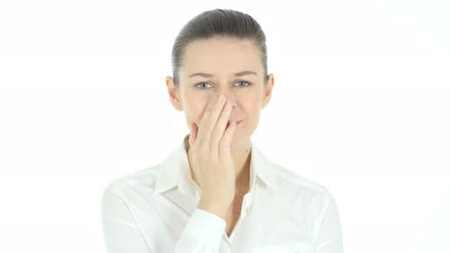 Woman in Shock, White Background