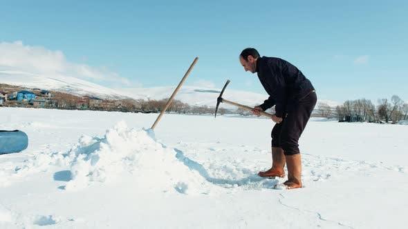 Thumbnail for Fisherman Catches Fish on Lake Cildir