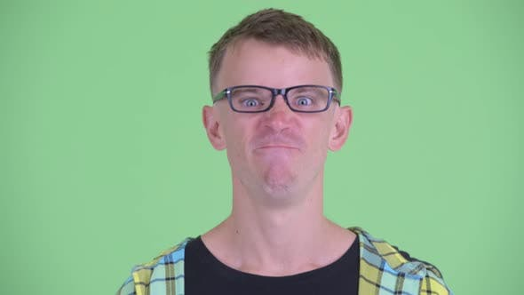 Thumbnail for Face of Angry Nerd Man Shouting and Screaming