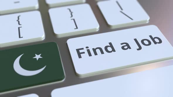 FIND A JOB Text and Flag of Pakistan on the Keys