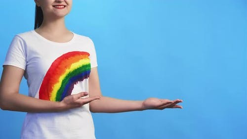 Lgbt Solidarity Social Banner Smiling Gay Woman