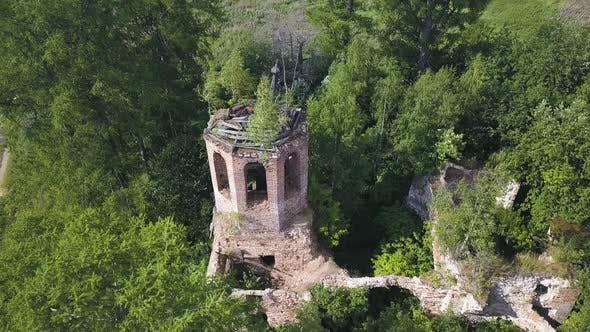 Flying over ruins of the ancient stony church