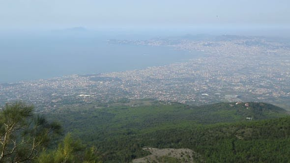 Thumbnail for Naples Panorama Shown From Top of Mountain With Hills and Sea in Shot, Sequence