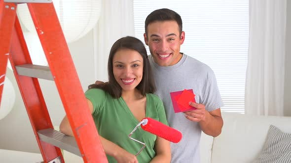 Thumbnail for Happy Mexican couple renovating house