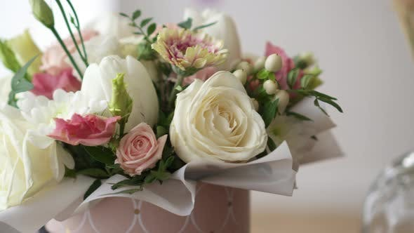 Close-up of a Bouquet of Live Roses