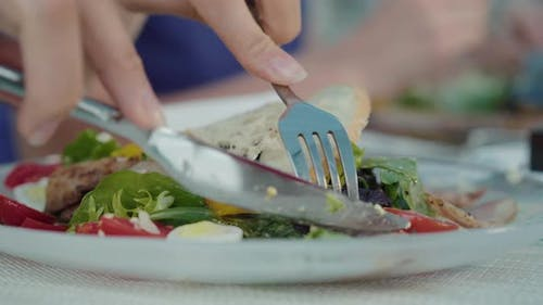 Unrecognizable Woman Taking Poultry Meat and Tomato To Eat. Female Hand Cutting Dish with Knife in