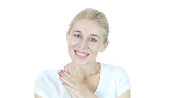 Thumbnail for Amazed by Surprise, Happy Woman on White Background