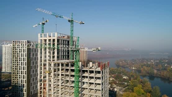 Thumbnail for Landscape in the City with Under Construction Buildings and Industrial Cranes