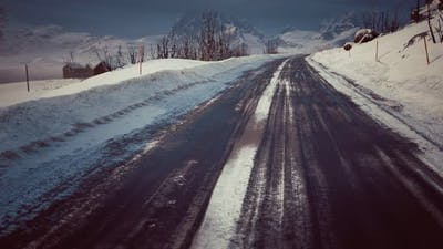 Winter Road on Lofoten Islands
