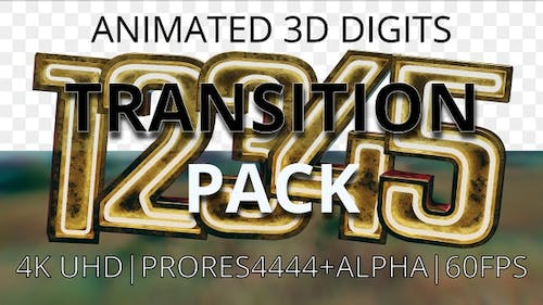 Animated digits' pack from 1 to 5 transition UHD 60fps