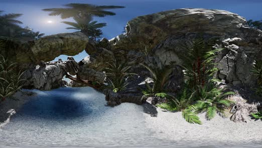 Thumbnail for VR 360 Cave Paradise Blue Sea and Sky. Paradise on Beach Tropical Island