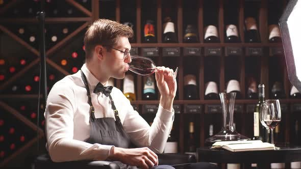 Thumbnail for Cavist at Wine Store, Sommelier at Restaurant, Wine Critic. Wine Degustation