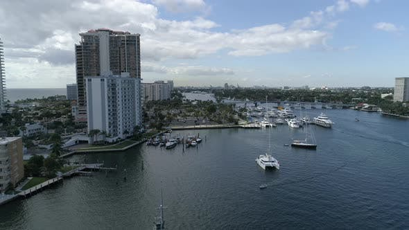 Aerial shot of Fort Lauderdale and a river
