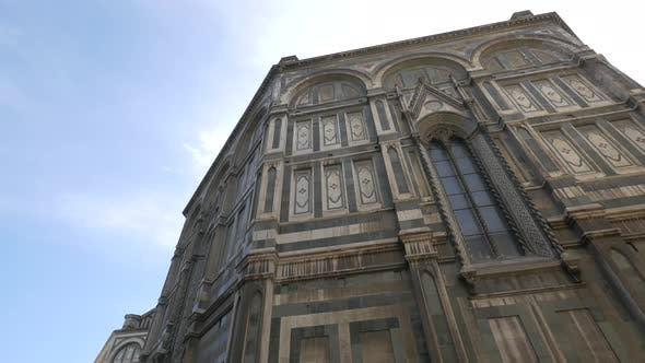 The exterior walls of a cathedral