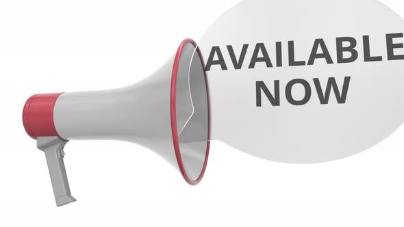 Grey Megaphone with AVAILABLE NOW Message