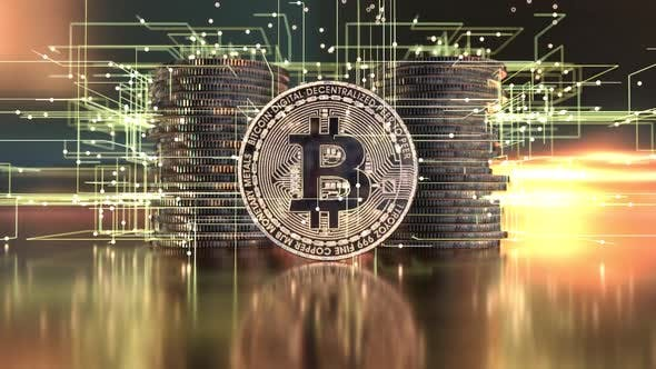 Abstract background of bitcoin art
