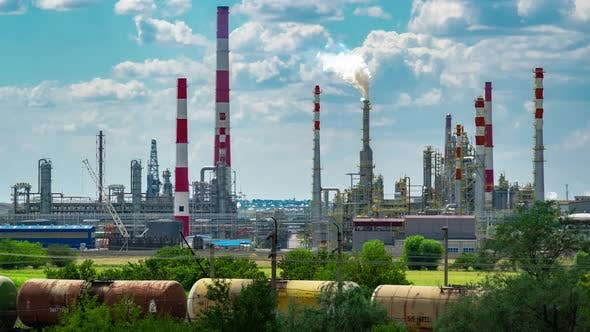 Refineries in the Day with Blue Skies